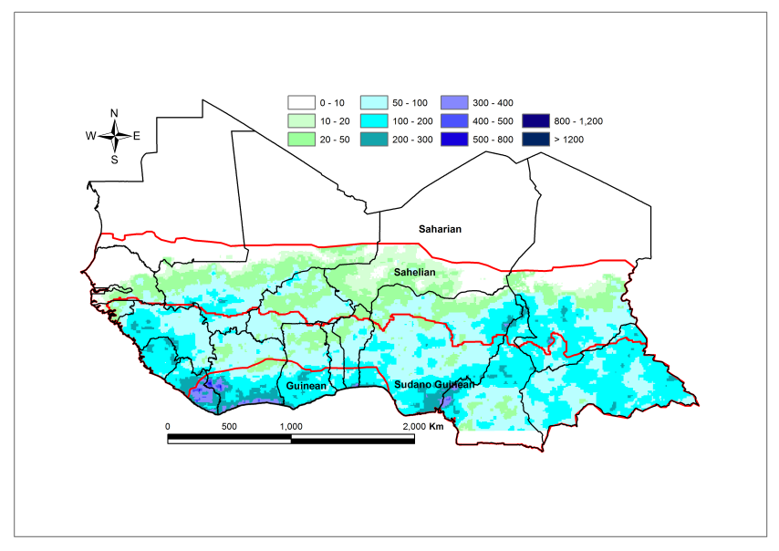 Figure 1.Total rainfall estimate (RFE) in mm, 1st and 2nddekad of June