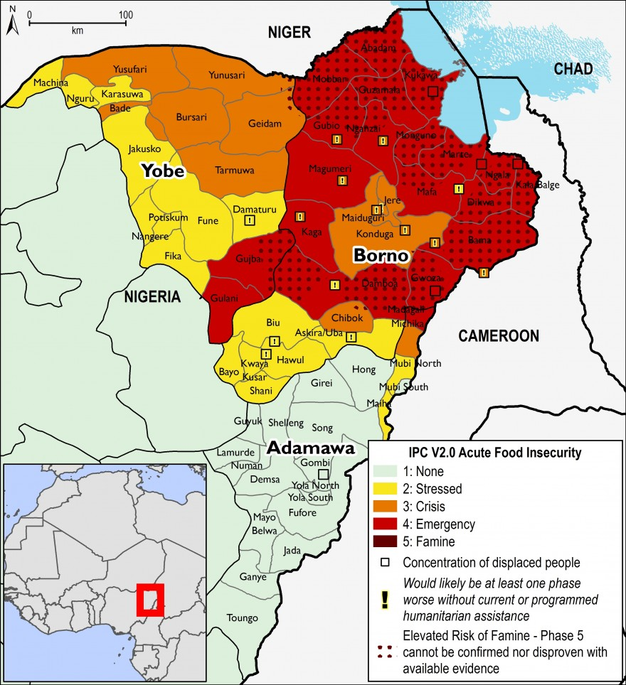Figure 1. Projected food security outcomes for northeast Nigeria, April – May 2017