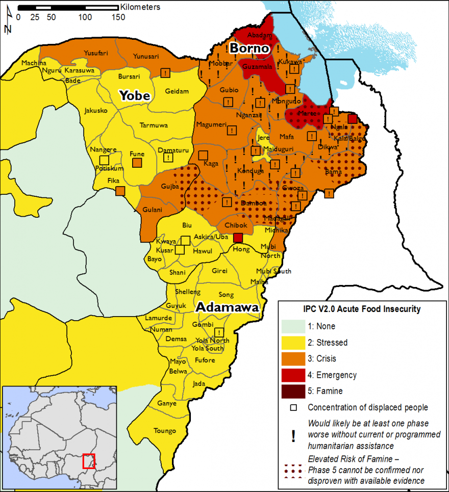 Projected food security outcomes for the northeast, August to September 2018 - Yobe and Adamawa are in phase 2, most of Borno is in phases 3, 3! and 4, including IDPs. Some places indicate an elevated risk of famine.