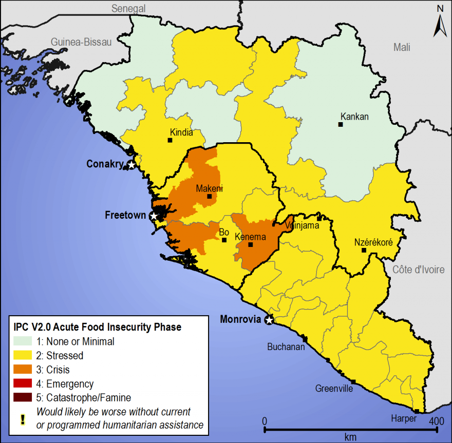 Figure 3. Most likely estimated food security outcomes, April to June 2015