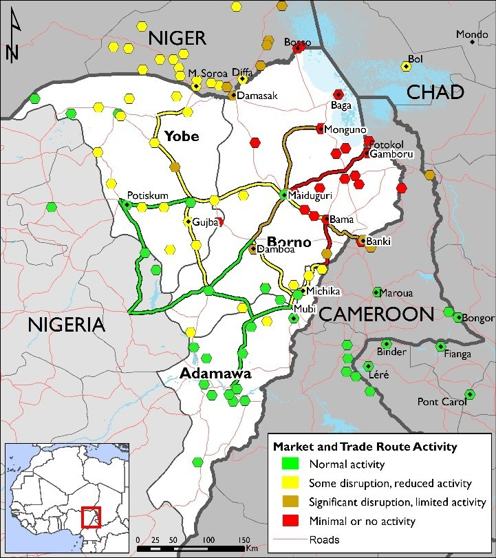 Figure 1. Trade route and market functioning map, August 2018 - Markets close to the lake Chad have minimal or no activity. The market functioning improves as they get further from the lake.