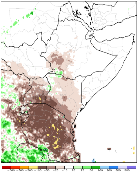 FIGURE 1. ARC2 ESTIMATED RAINFALL ANOMALY, PERCENT OF NORMAL (1983-2009), JANUARY 1 - 29, 2017