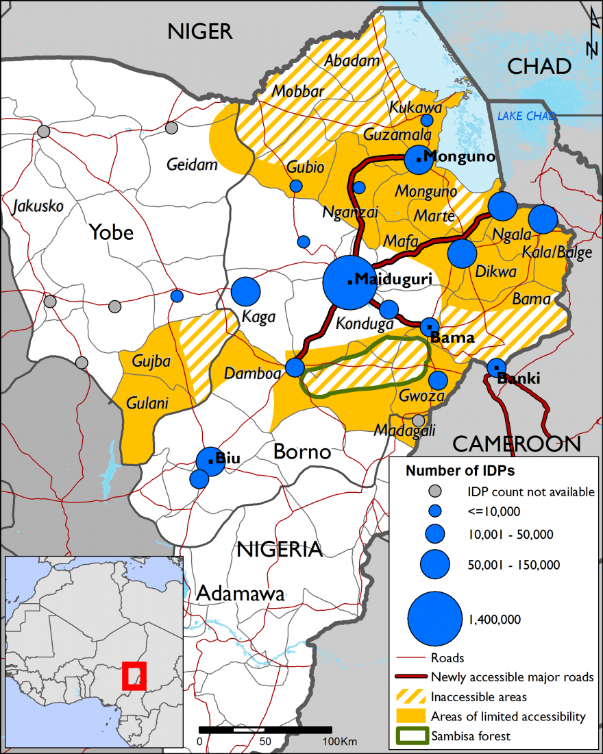 Figure 2. IDP concentrations, areas with limited access, and newly accessible roads in NE Nigeria