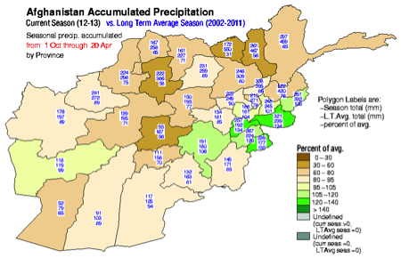 Accumulated October 1, 2012 to April 20, 2013 precipitation as percentage of the 2002 to 2011 average