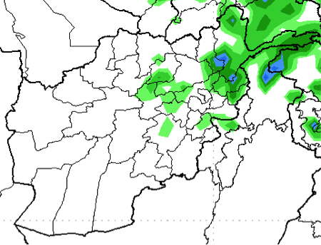 Global Forecast System (GFS) precipitation forecast in millimeters (mm), May 1 to 7