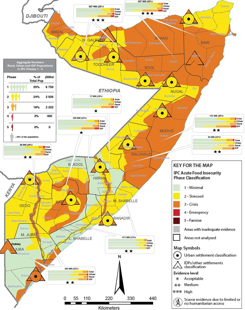 Map showing current acute food insecurity outcomes in Somalia in the April-June 2021 period using the IPC 3.0 protocols