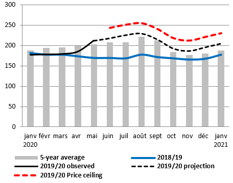 Graph of projected retail price of millet (XOF per kg) at Djibo market: between May 2020 and January 2021, prices are projected to be above the five-year average and higher than in 2018/2019, at between XOF 200 and XOF 250 per kg throughout the periodGrap