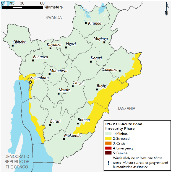 Current situation map of Madagascar, colors indicate varying classification of food insecurity.