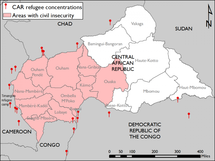 Figure 1. CAR refugee concentrations in neighboring countries