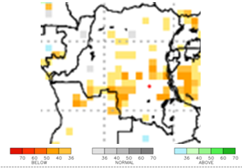 Map of rainfall forecasts, October to December 2020: Some anomalies could occur, with below-average rainfall in certain areas of central-eastern and central-southern DRC.