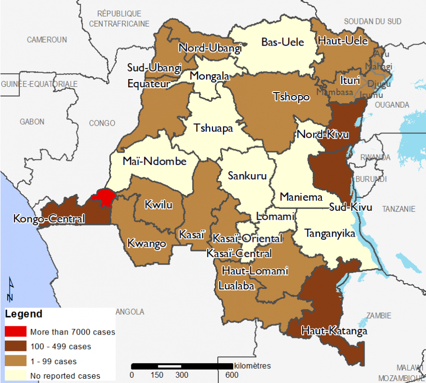 Map of Confirmed cases of COVID-19 in the DRC as of August 10, 2020: More than 7000 in Kinshasa, 100-499 in Kong-Central, Haut-Katanga, Nord-Kivu, and Sud-Kivu, 1-99 cases in Nord-Ubangi, Sud-Ubangi, Equateur, Haut-Uele, Ituri, Tshopo, Haut-Lomami, Lualaba, Kasai-Oriental, Kasai, Kasai-Central, Kwilu, and Kwango Provinces