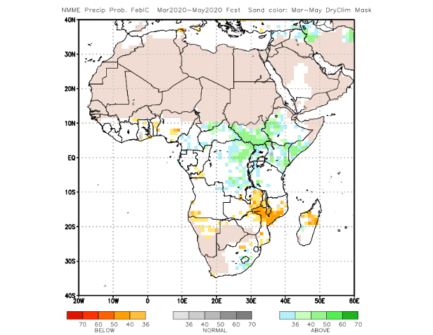 Map of NMME March to May 2020: above-average rainfall in most of eastern DRC