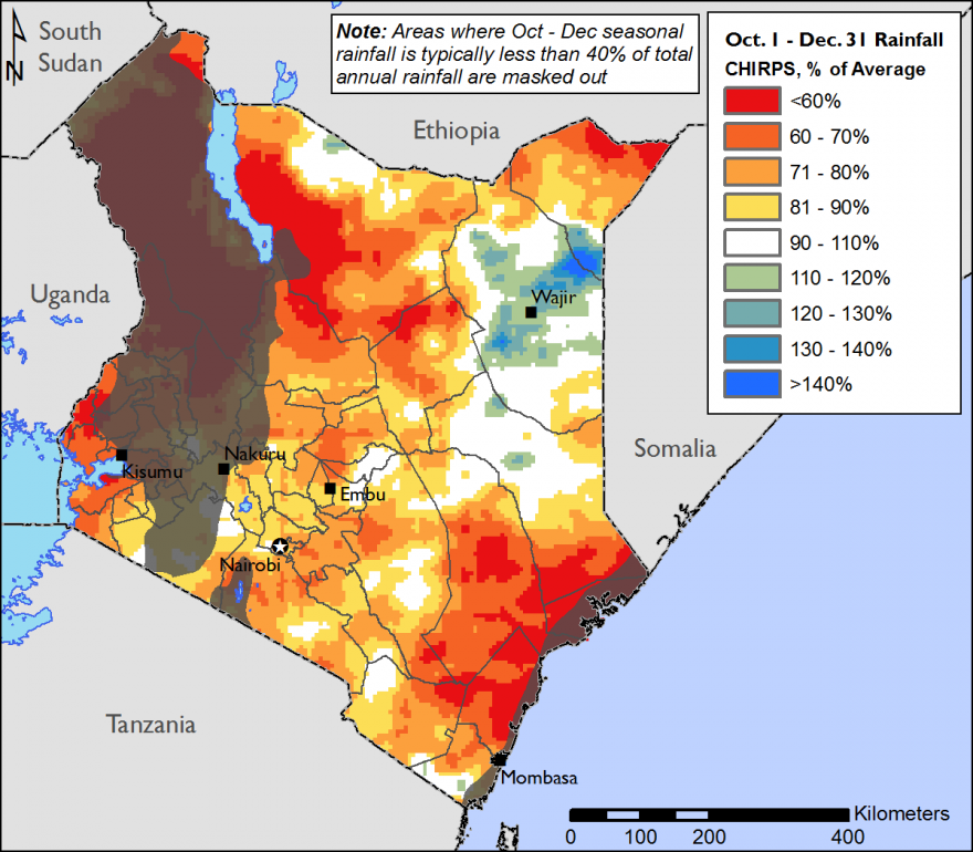 Figure 1. Percentage of normal rainfall October to December 2016