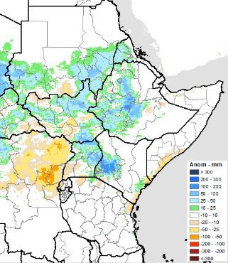 The graphic shows above-average rainfall in June across western Ethiopia, southern Sudan, southwestern Kenya, and across large areas of South Sudan, and Uganda.