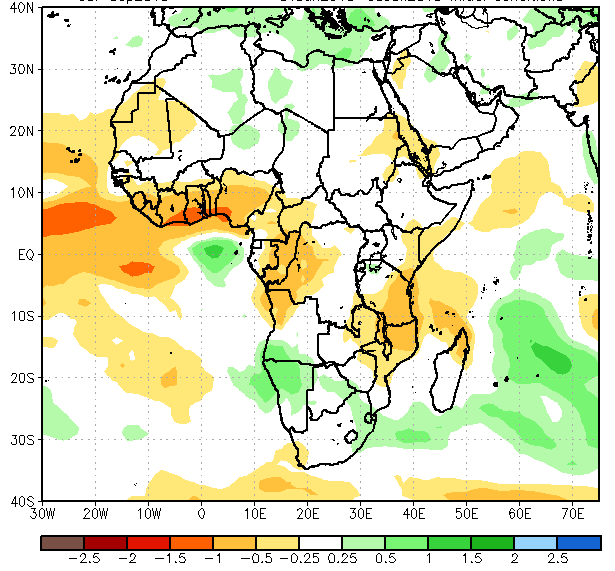 Figure 3. Rainfall anomalies for the period from July through September 2015  (in mm / day)