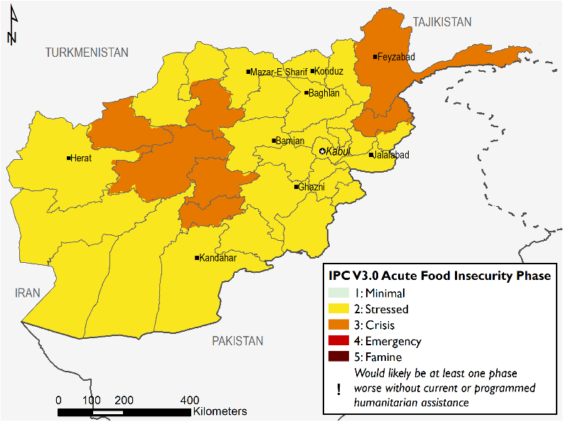 Map of Afghanistan illustrating the IPC Acute Food Insecurity Phases across the country.