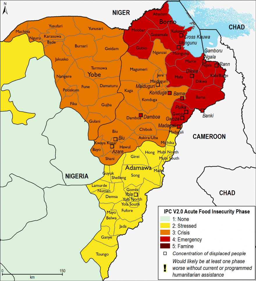 Current food security outcomes, June 2016 - focus in on northeast Nigeria