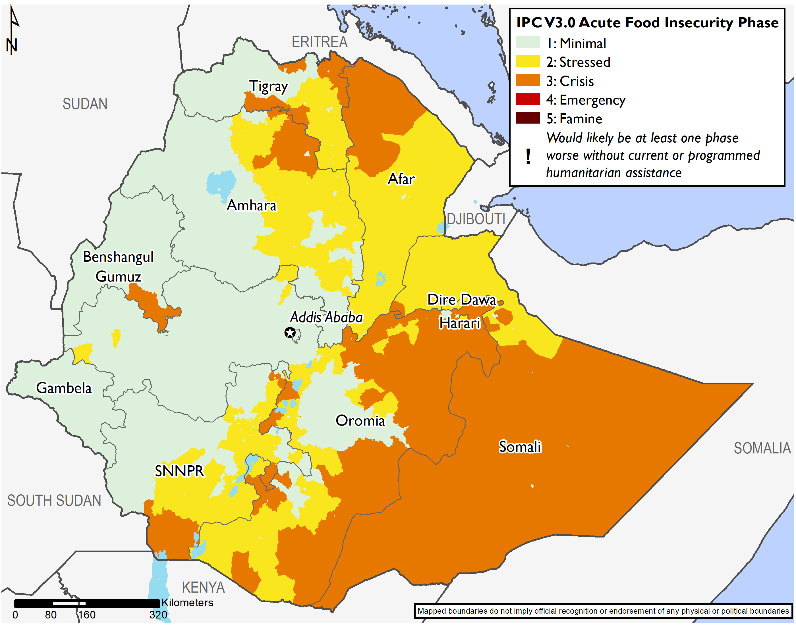 Map of Ethiopia illustrating the IPC acute food insecurity phases across the country.