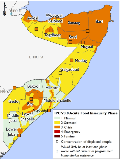 Map of Somalia showing current food security outcomes in October 2020