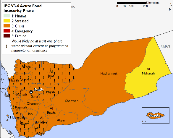 """This map of Yemen shows most of the country in Phase 3 (Crisis), with Al Mahrah in Phase 2 (Stressed). Many western governorates in Crisis are mapped with """"!""""s, indicating that outcomes would likely be at least one phase worse in the absence of humanitarian assistance."""