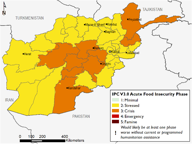 This is a map of Afghanistan showing most of the country in Stressed (IPC Phase 2) though with many high elevation areas in the central and northeast regions as well as the southern Kandahar province in Crisis (IPC Phase 3).