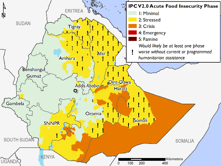 This map shows large areas of southeastern Ethiopia in Crisis (IPC Phase 3), and large areas of northern and northeastern Ethiopia in Stressed (IPC Phase 2!). Much of western Ethiopia is in Minimal (IPC Phase 1).