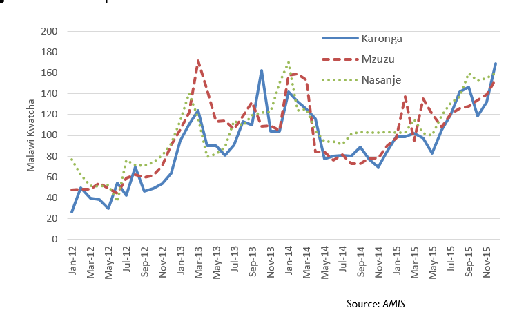 Figure 1:  Maize retail price trends.