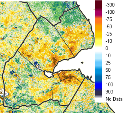 Vegetation anomalies compared to historic conditions; Dekad 2 of Oct. 2016 (in % terms). Driest hot spots are around major urban areas.