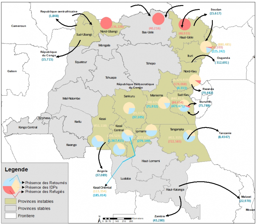 Map of the DRC - Population movements, refugee flows and internally displaced persons especially in the east and north of the country