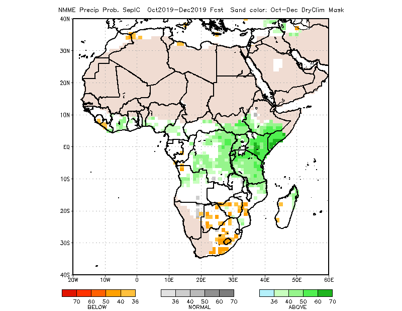 Map of the NMME forecast of normalized seasonal precipitation anomalies for October through December 2019: Average to above average rainfall (40-50% above) across DRC