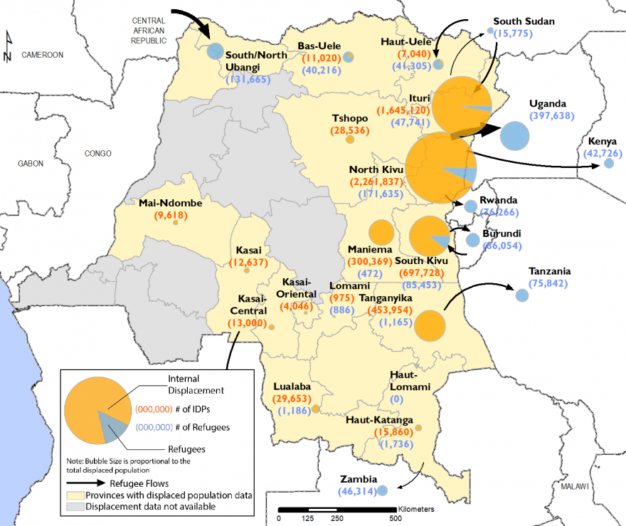 A large part of the displaced persons and refugees are in the eastern zone, particularly in North Kivu and Ituri.