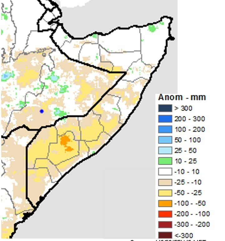 Map of estimated rainfall anomaly in millimeters for October 1st through 20th compared to the long-term average. Rainfall was average across the north and most of the central regions. Rainfall was 25 to 50 millimeters below average in the south.