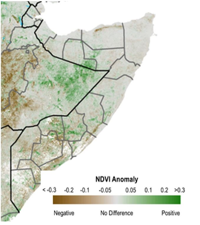 Map of NDVI anomaly from the short-term median for October 11th to 20th. Vegetation is mostly average, with some positive anomalies in a small part of the northwest and some areas in the south. There are also negative anomalies in the south and northeast.