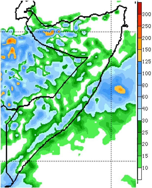 Map of rainfall forecast in millimeters for October 25th to 31st. Rainfall is forecast across Somalia, except large parts of Bari and lower Juba. Rainfall is predicted to accumulate up to 30 mm in most areas, with some areas forecast to receive up to 100