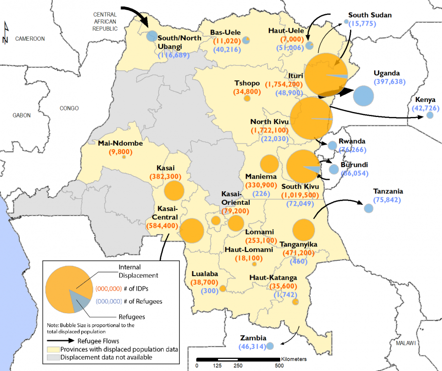 IDPs are mostly located in the East of the country