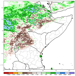 Figure 1. ARC2 30-day rainfall estimate anomaly, percent of normal (1983-2009),  1 – 31 August, 2016
