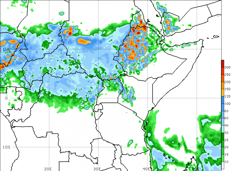 Figure 4. 2-Week GFS-Rainfall forecast (mm), valid through July 26, 2016.