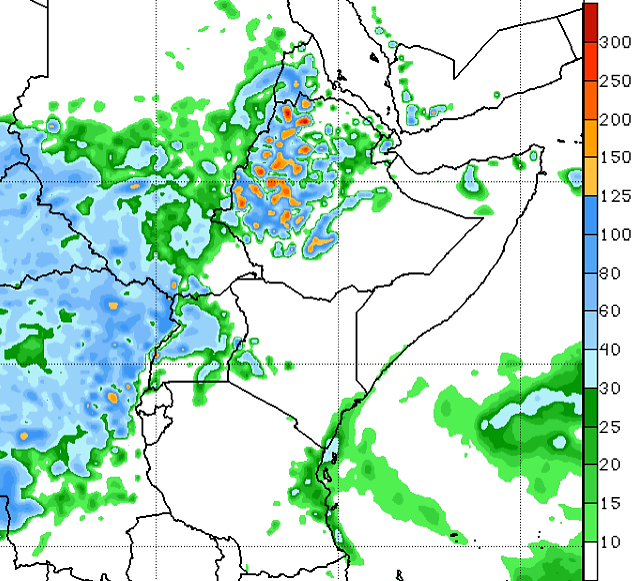 The forecast indicates a likelihood for moderate to heavy rain over western and central Ethiopian highlands, eastern and western Sudan, much of South Sudan, and Uganda.
