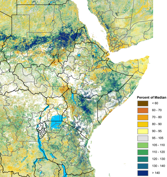 The graphic shows there were increasing greener-than-normal vegetation conditions across much of Sudan and in the eastern Horn. However, there has been a deterioration in some parts of northwestern Kenya and Uganda; Somalia, and portions of South Sudan.