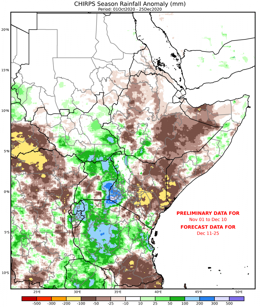 Map of CHIRPS preliminary rainfall anomalies (mm) compared to the 1981-2010 average, October 1-December 25, 2020.
