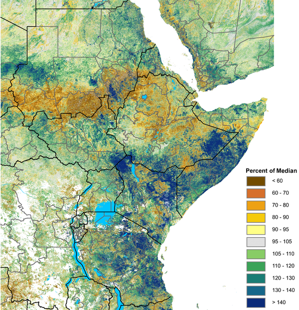Map of /NDVI as a percent of the median of 2003 - 2017, December 1-10, 2020 . 