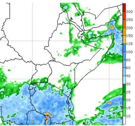 Map of GEFS rainfall forecast in mm, valid between, December 15 - 21, 2020. Many areas in the eastern Horn of Africa are likely to be atypically sunny and dry apart from Kenya's southeastern and coastal regions.