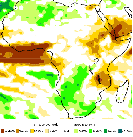 Figure 1. Probability of the most likely rainfall range for July through September 2015