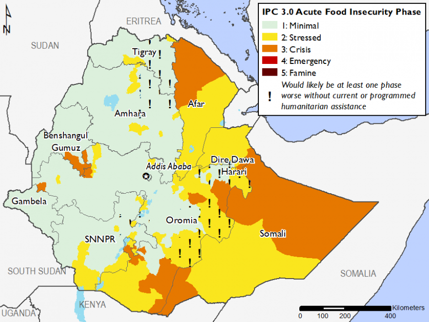 Map of Current food security outcomes, February 2019: Most of the western part of the country is in Minimal (IPC Phase 1) with isolated areas in Stressed (IPC Phase 2) and Crisis (IPC Phase 3). Parts of Amhara and Tigray are in Minimal (IPC Phase 1!). Afa