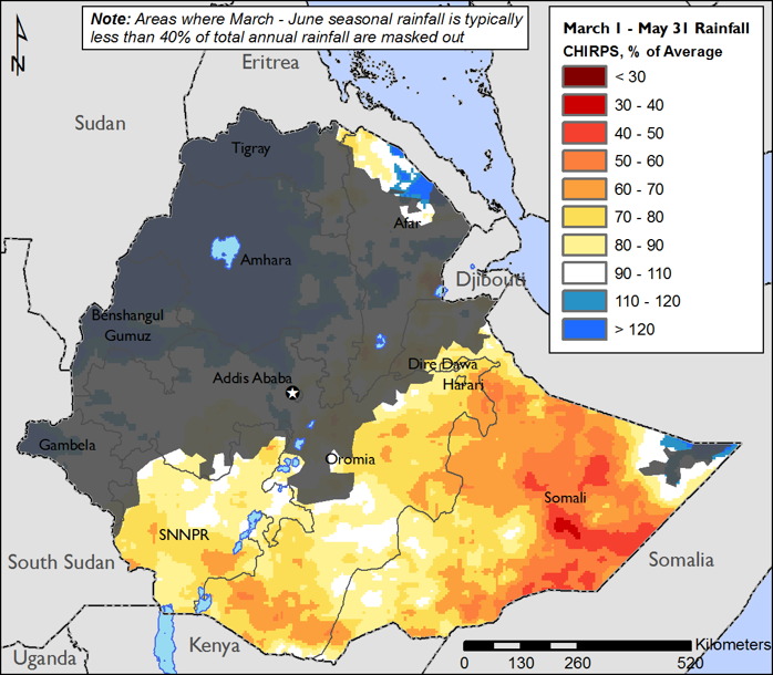 Figure 1. March 1 – May 31, 2017 percent of average rainfall using Climate Hazards Group Precipitation with Stations (CHIRPS) data