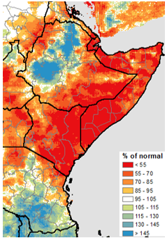 Seasonal Rainfall Accumulation Percent of Normal, CHIRPS, pentad 1 of March – pentad 5 of April 2019: Much of eastern Ethiopia 85% to less than 55 percent of normal rainfall recorded. 130% to greater than 145% of normal in the north central part of the