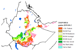 Map of WRSI June 2019, Dekad 2: Crop failure or no start in south central and parts of  central north Ethiopia, Average to good in central Ethiopia
