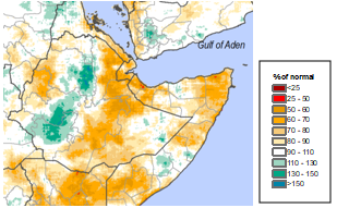 Map of March-May 2019 percent of normal rainfall: Most of east and central Ethiopia had 50 to 80 percent of normal rainfall, west central Ethiopia has 100-150 percent of normal rainfall