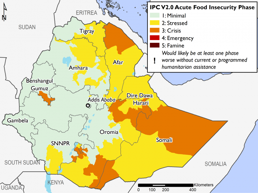 This map shows most likely food security outcomes for October 2018, with most of the western half of the country in Phase 1, southern areas in Phase 2 and Phase 3, particularly in Somali region, many northern areas in Phase 2, and northern Afar in Phase 3