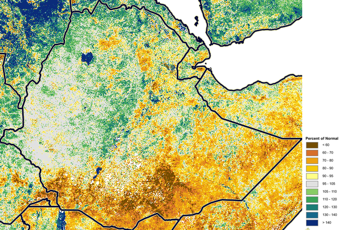 Figure 1. eMODIS NDVI Anomaly, Percent of Normal, October 21-31, 2016.